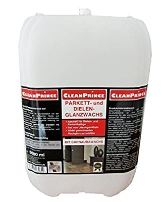 CleanPrince 1.32gal. Canister Parquet and Board Floor Shining Wax with Carnauba Wax Shiny Floor Sealing Sealing Dispersion for Water Proof Flooring Especially Parquet and Boards without Solvent Ideal also as Floor Maintainer with a Minimal Concentration F