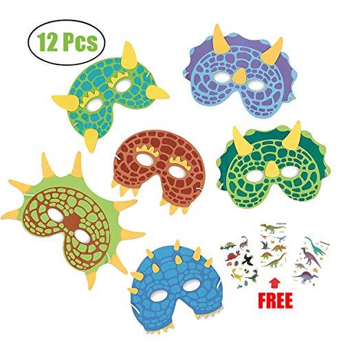 MAKFORT 12 Stück Dinosaurier Masken Kinder Dino Masken Mit Elastischen Seil für Cosplay Kinder Dino-Geburtstagsparty Junge und Mädchen (Geburtstagsparty Für Jungen)