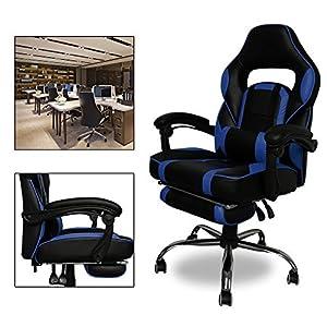 51XstsStc8L. SS300  - HG-Office-Silla-giratoria-Silla-para-juegos-Premium-Comfort-Apoyabrazos-acolchados-Silla-de-carreras-Capacidad-de-carga-200-kg-Altura-ajustable-negro-azul