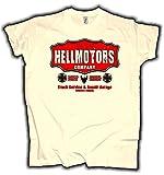 HELLMOTORS Company Oldschool Herren T-Shirt Hotrod & V8 Style Creme (M)
