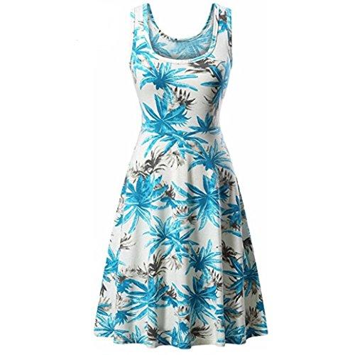 MRULIC Mädchen und Damen Prinzessin Kleid Sommer Ball Kleid Strand Sommerkleid(E-Blau,EU-42/CN-XL) Gossip Girl Mode