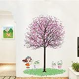 Stickers muraux PVC autocollant Cerisier rose sous la fillette et pots de fleurs stickers chambre salon chambre enfant