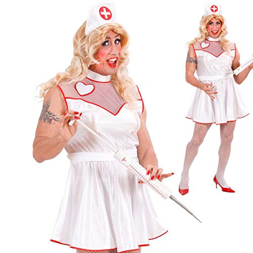 NET TOYS Herren Kostüm Krankenschwester Ärztin Männer Kostümset Nurse XL 54/56 JGA Männerkostüm Drag Queen Schwester Junggesellenabschied Travestie Ärztin Männerballett Faschingskostüm