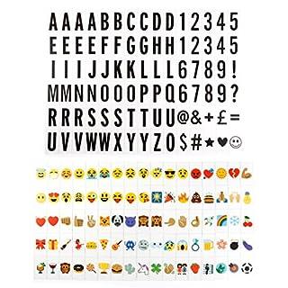 Anladia 175tlg Buchstaben Emoji Schrift Ziffer Zeichen Symbole Karten frei Kombination für LED Lightbox Leuchtkästen