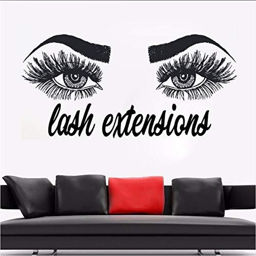 Fushoulu 87X42 Cm Lashes Extensions Wandaufkleber Augenbrauen Brauen Make Up Wandtattoos Schönheitssalon Dekoration Vinyl Wimpern Aufkleber Für Wand