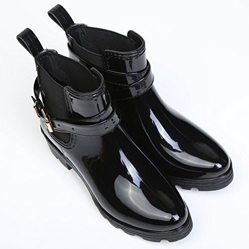 Botas de Agua Bota de Goma Mujer Impermeable lluvia Zapatos Tobillo Casual Calzado, Negro 38