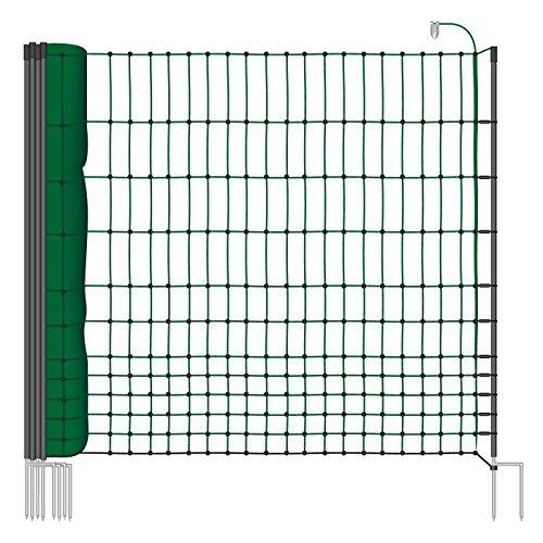 *25 m Hühnerzaun, Geflügelzaun, Geflügelnetz, Kleintiernetz, 112 cm, 9 Pfähle, 2 Spitzen, grün von VOSS.farming farmNET*