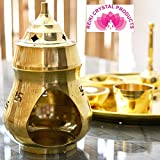 Reiki Crystal Products Vastu/Feng Shui Brass Aroma Incense Burner Camphor Lamp Aroma Lamp Oil Diffuser Oil Burner with Diya