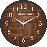 Dinine Craft ® Wall Clock for Home, Living Room, Bedroom, Kitchen Plastic (Brown)