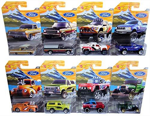 Mattel-Hot Wheels FKF57 Ford Trucks - Juego de 8 Coches de Juguete para niños y coleccionistas
