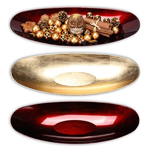 """Dekoschale \""""GlamourLong\"""" L 40,5cm aus Melamin in gold oder rot (rot)"""