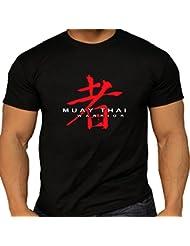 T-Shirt Muay Thai Rouge asiatique Guerrier en coton noir T pour homme