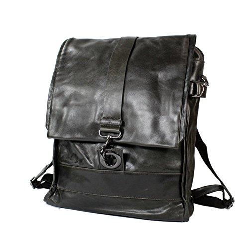 Everdoss Herren echt Leder Rucksack Businesstasche Multifunktional Umhängetasche Daypacks Backpack grau