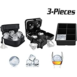 3 PACK Ice Cube Schalen Set – Kugel Runde Ice Ball Maker, große Platz Ice Cube Form und Diamant Form Silikon Eiswürfelform, für Eis, Whiskey, Candy und Schokolade wiederverwendbar und BPA-frei (schwarz)