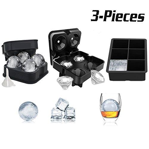 3 PACK Ice Cube Schalen Set - Kugel Runde Ice Ball Maker, große Platz Ice Cube Form und Diamant Form Silikon Eiswürfelform, für Eis, Whiskey, und Schokolade wiederverwendbar und BPA-frei (schwarz)
