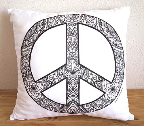 hen Kissenbezug Peace Zeichen Kissen Peace Mandala Kissenbezug Kissenbezug Home Decor ()