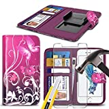 ( Pink Flower Butterfly 147.1 x 68.08 mm ) PRINTED DESIGN Tasche SchutzHulle fur Vodafone Smart N9 2018 case cover pouch High Quality Thin Faux Leather Book style Pouch Spring Clamp Clip on / Adjustable Book + TEMPERED GLASS SCREEN PROTECTOR BY i-Tronixs