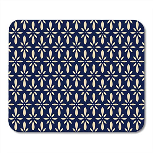 Gaming Mauspad Abstract Retro Navy Blue Japanese Flower Chintz Asian Antique 11.8