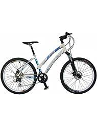 "Bicicleta de montaña MTB mujer Gotty CRS, aluminio 26"", con suspensión de aluminio con bloqueo, cambio de 21 velocidades y frenos de disco. (Blanco)"