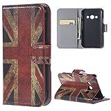 DETUOSI Hülle für Galaxy Xcover 3,PU Leder Etui Hülle im Bookstyle Handy Tasche für Samsung Galaxy Xcover 3 III (SM-G388F) Schutzhülle Schale Flip Cover Wallet Case (UK-Flagge)