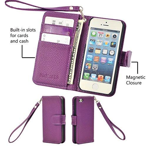 iPhone 5s / 5 Hülle, Wisdompro® Premium PU-Leder 2-in-1 [Flip Folio] Wallet Hülle Schutzhülle mit Mehreren Kreditkartenhaltern / Steckfächern und Handgelenkschlaufe für Apple iPhone 5s / 5 (Lila) Lila mit Trageschlaufe