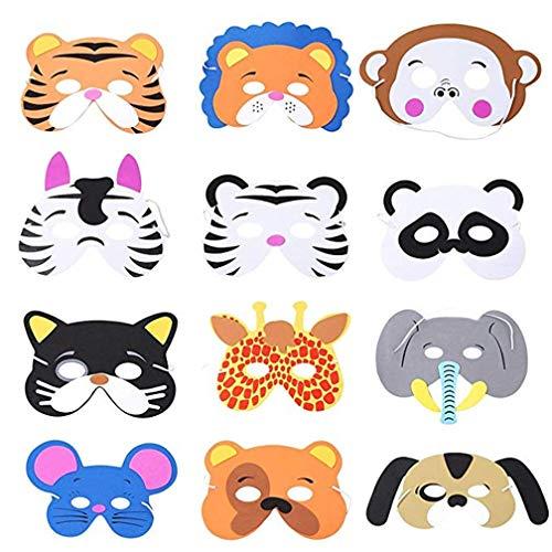 12 Kinder-Masken aus Schaumstoff, mit elastischem Seil, verschiedene Partyzubehör, für Geburtstage, Bühnenaufführungen, Mottopartys