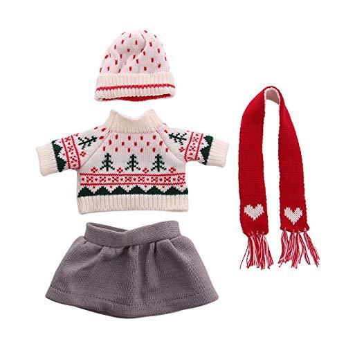 Zeagro Puppenkleidung, Puppenkleidung Kleid Outfit Pullover Winterkleidung Set für 18 Zoll American Girl Puppe Geschenk-Rot