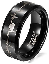 JewelryWe - Anillo ancho 8mm tungsteno de carburo para hombre, corazón y latidos anillos de compromiso, negro…