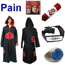 Anime Naruto Pain cosplay costume, manteau Akatsuki (taille L:hauteur 169cm-176cm)+ anneau +Pain bandeau +Naruto trousse