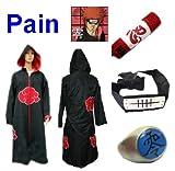 Sunkee Traje de Cosplay para cosplay Naruto Akatsuki Pain Ninja Set- Capa con capucha(XL:Tamaño 177cm-184cm)+caja de lápiz+Pain diadema+anillo