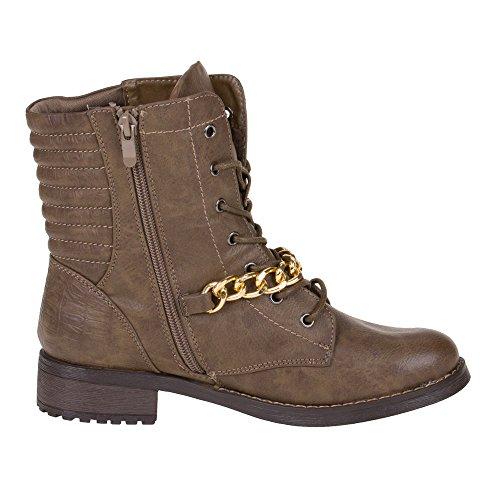 Damen Schuhe, 661-1, STIEFELETTEN Braun Grau