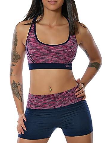 Damen Yoga Sport-Set Fitness Push-Up BH mit Hot-Pants (weitere Farben)