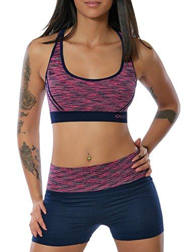 Damen Yoga Sport-Set Fitness Push-Up BH mit Hot-Pants (weitere Farben) No 13889, Farbe:Navy;Größe:L / XL (Kleid Burnout Jacke)