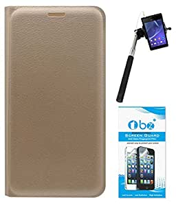 TBZ PU Leather Flip Cover Case for Samsung Z2 with Selfie Stick with Aux and Tempered Screen Guard -Golden