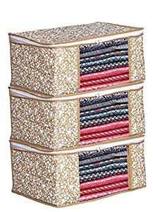Porchex Presents Non Woven Saree Cover Storage Bags for Clothes with primum Quality Combo Offer Saree Organizer for Wardrobe/Organizers for Clothes/Organizers for Wardrobe (Pack of 3)