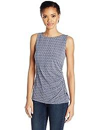 Jones New York Women's Slvlss Print Side Zip+Shirring Top
