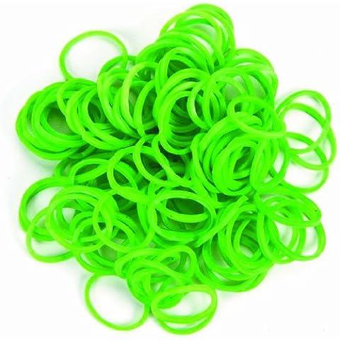 Bande LOOM / elastici in vari lattice. Versioni Bracciale loop 300 pezzi S-clip x12 kelly braccialetto verde con passanti 300 parti S-clip x12 kelly verde