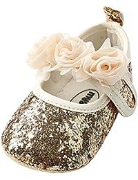 Zapatos para bebé Niñas, Minuya Antideslizante Suela Blanda Zapatos de Princesa de Flores, Zapatos