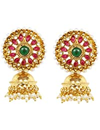 American Diamond Pearl Ruby Red Green Gold Plated Festive Jhumki Earring For Women Wedding Jewelry