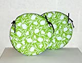 "2 x Zippy 15"" Round Cushions - Waterproof Fabric - Lime Tulip - Seat Pads for Home & Garden Furniture"
