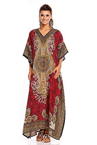 NEU Damen überdimensional Maxi Kimono Kaftan Tunika Kaftan Damen Top freie Größe - Rosa, 52-54 (Ärmel Kaftan)