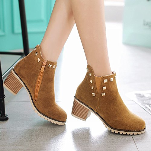 Mee Shoes Damen Nieten chunky heels Nubukleder kurzschaft Ankle Boots Gelb
