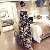 Jiobapiongxin Estilo Bohemio Sweet Lady Girls Estampado Floral Gasa Vestido Largo Playa de Verano