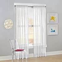 "No. 918 Calypso Sheer Voile Rod Pocket Curtain Panel, 59"" x 84"", White, 1 Panel"