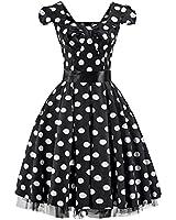 Pretty Kitty Fashion 50s Groß Schwarz Weiß Polka Dot Cocktail Tee Kleid