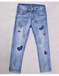 Slim Joker verano mujer bordado recortada pantalones vaqueros ,30,Dril de algodón azul