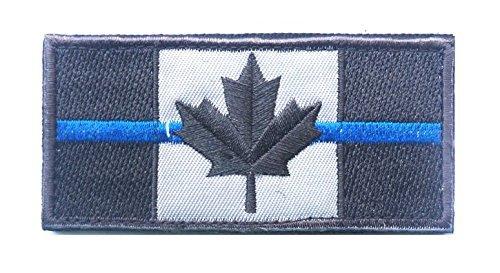Bandera Canadá parche fina línea azul policía aplicación