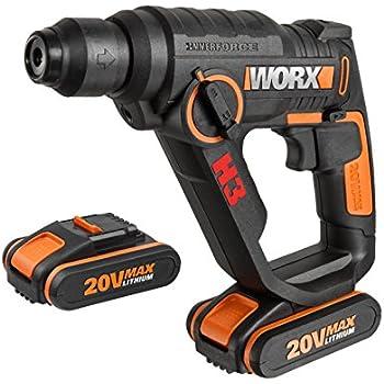 Worx 20V SDS Plus Akku Bohrhammer, Bohrer, Schrauber, Lithium Ionen Akku, 1,2 Joule Schlagkraft, LED Licht, WX390.1, Schwarz