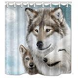 nymb weiß Wölfe Snuggle zusammen 175,3x 177,8cm Schimmelresistent Polyester Stoff Duschvorhang Set Fantastische Dekorationen Bad Vorhang