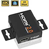 ELUTENG HDMI Adaptador Extender 2.0 18Gbps HDMI Booster Repeater HDR 4K 60Hz TV Signal Booster Female to Female HDTV Connector Amplifier Adapter Up to 60 Meters for PS4 Xbox PC